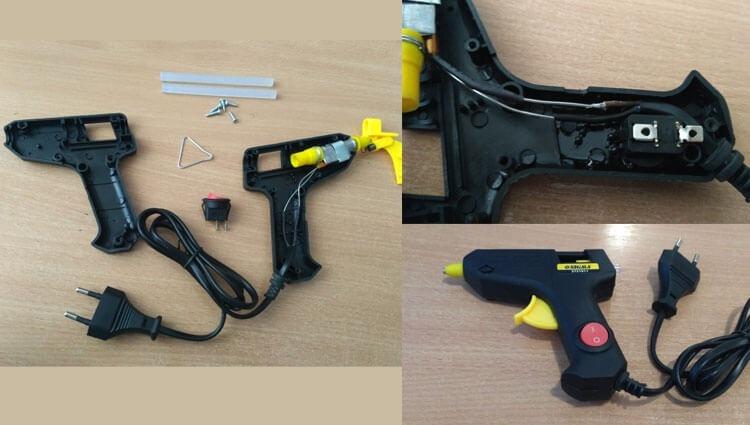 Устанавливаем кнопку включения на клеевой пистолет Sigma
