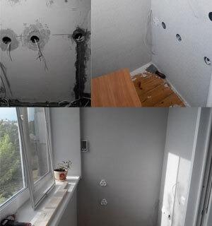 Электрика в рабочем кабинете на балконе, клеим обои